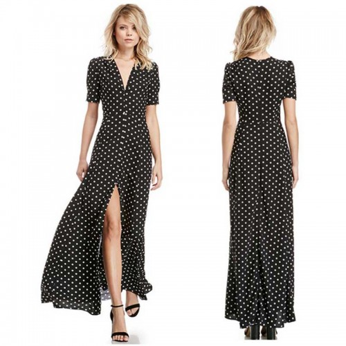 Polka Dot Short Sleevess Long Dress