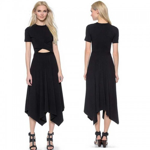 Waist Cut Out Irregular Midi Dress (Size S,M)
