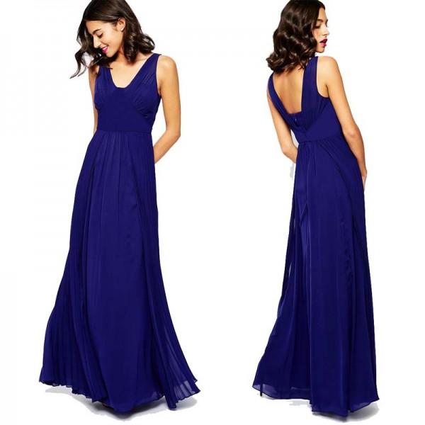 Pleated V Neck Long Dress