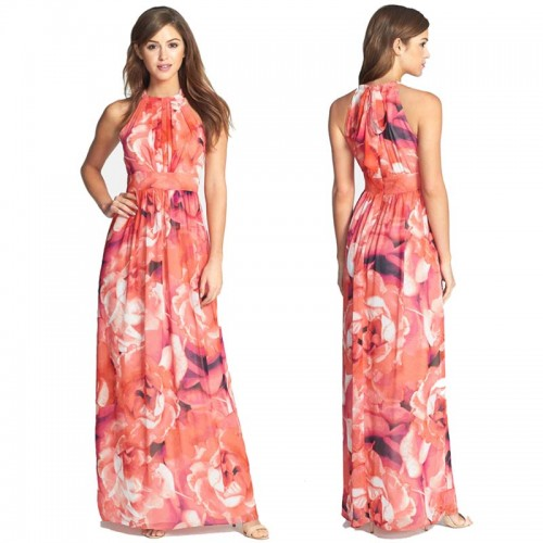 Floral Long Halter Dress