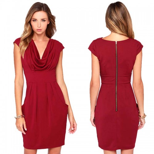 Cowl Neck Midi Dress (Size M)