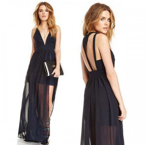 V Neck Long Sheer Dress