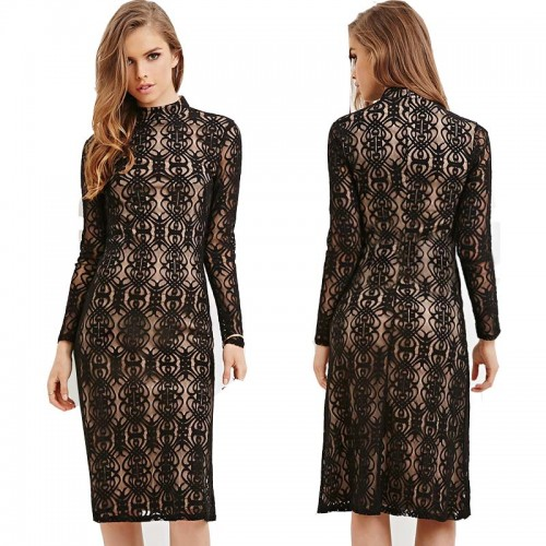 Black Long Sleeved Midi Lace Dress