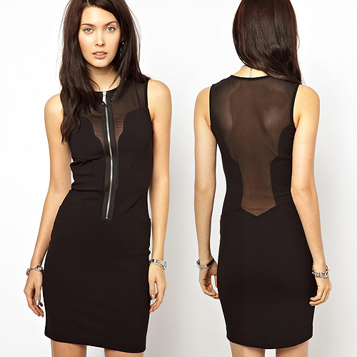Sheer Mesh Zipper Dress