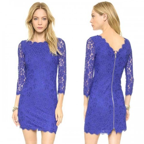 Blue Quarter Sleevess Lace Dress