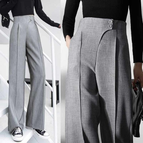 High Waist Straight Grey Pants