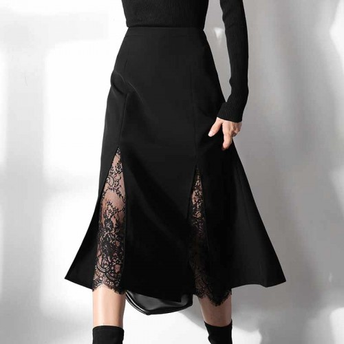 Midi Lace Slit Skirt