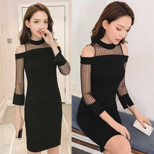 Mesh Sleeves Slit Dress