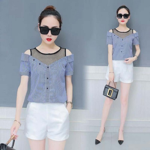 Blue Off Shoulder Shirt (Size S,M)