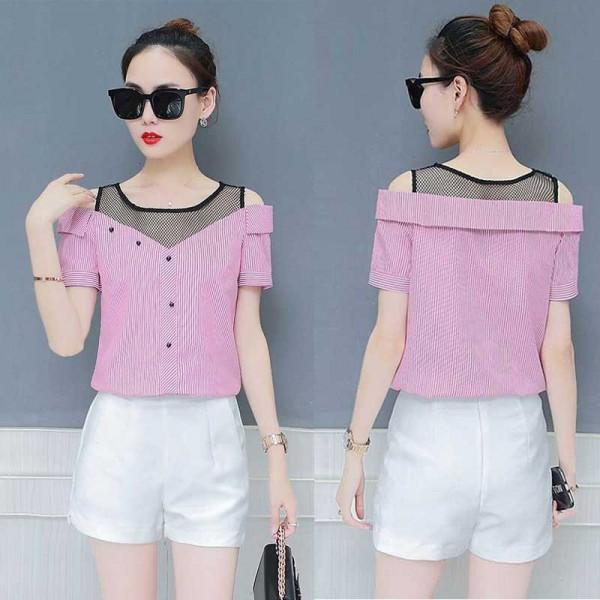 Off Shoulder Shirt (Pink)