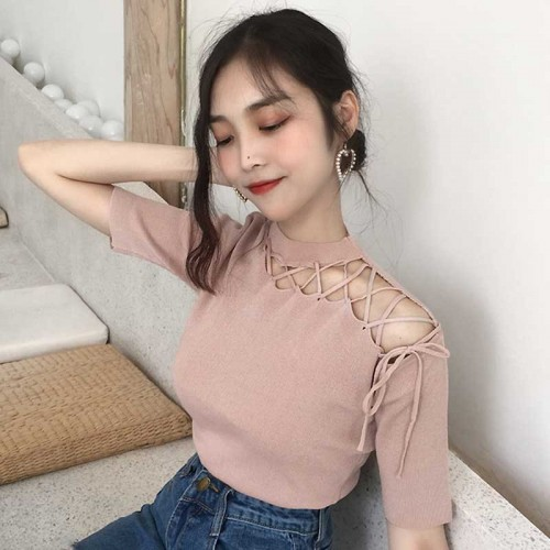 Hollow Straps Top (Beige)