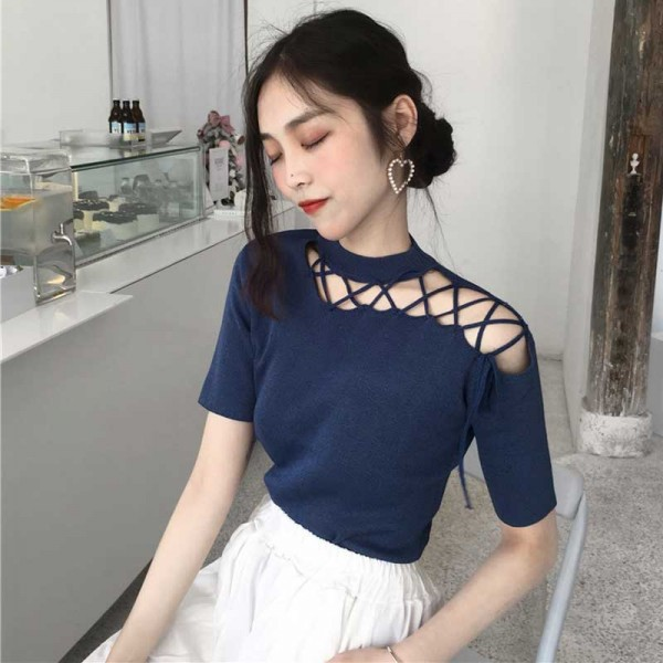 Hollow Straps Top (Blue)