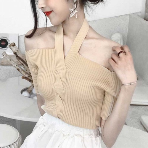 Hang Neck Top (Beige)