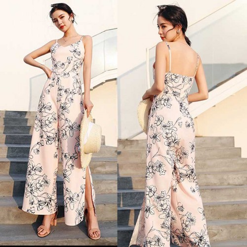 Floral Slit Pants Jumpsuit
