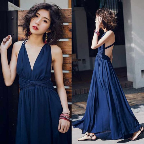 V Neck Tie Waist Maxi Dress (Size S,M)