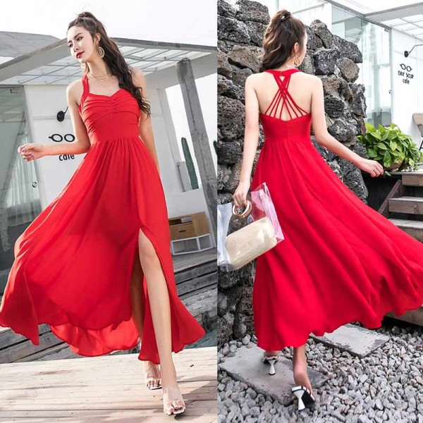 Cross Back Red Midi Dress