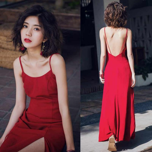 Sexy Back Red Maxi Dress