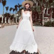 Cross Back White Lace Maxi Dress
