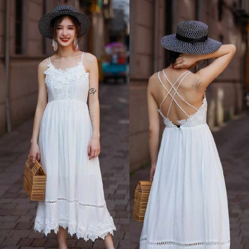 Cross Back White Lace Maxi Dress