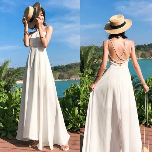 Cross Back Maxi Dress (White)