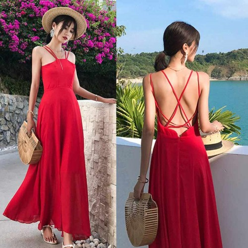 Cross Back Maxi Dress (Red)