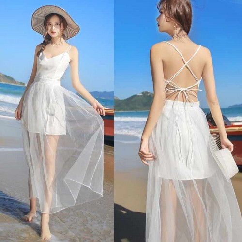 Tie Back White Sheer Dress