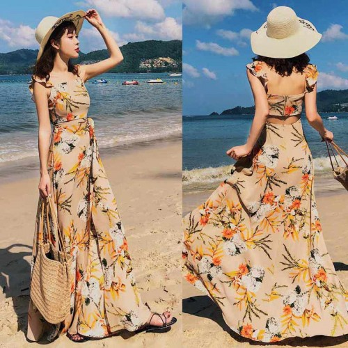 Floral Square Neck Maxi Dress (Size S,M)