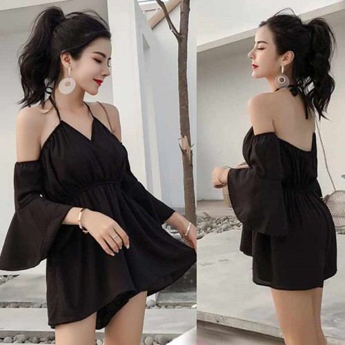 Bell Sleeves Romper (Black)