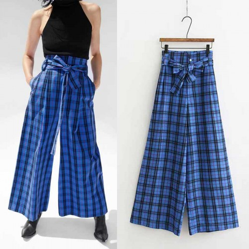 Plaid Wide Legs Pants
