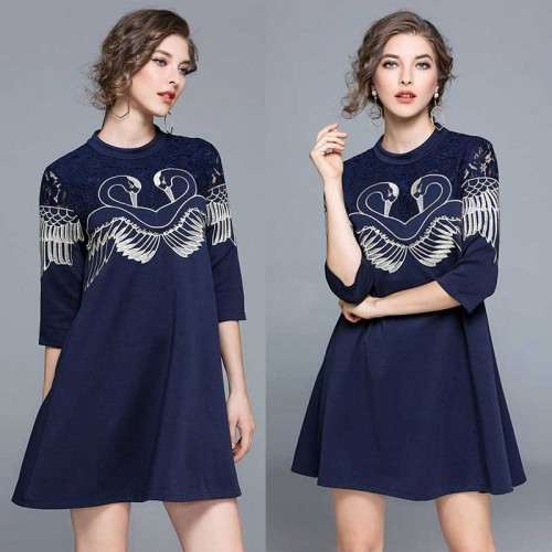 Blue Embroidered Lace Dress