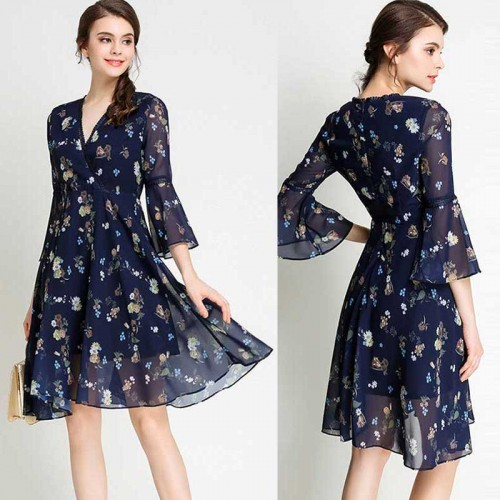 Long Sleeved Flowy Floral Dress