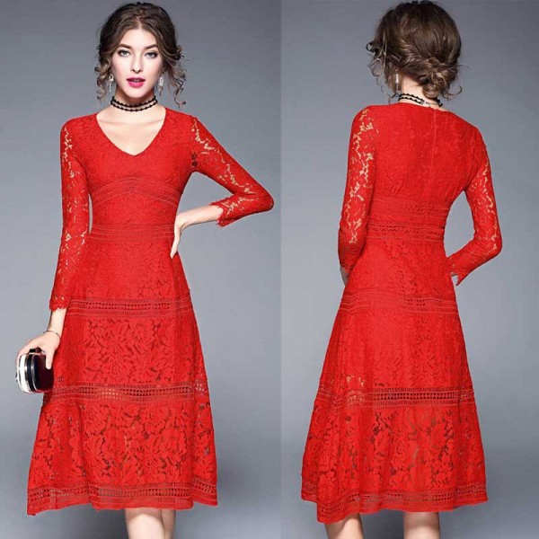 Quarter Sleeves Red Lace Dress