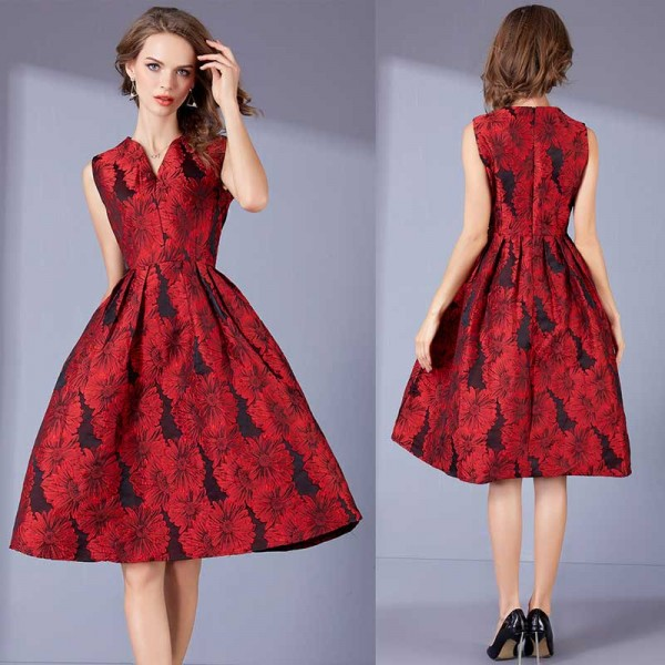 Embroidered Red Umbrella Dress