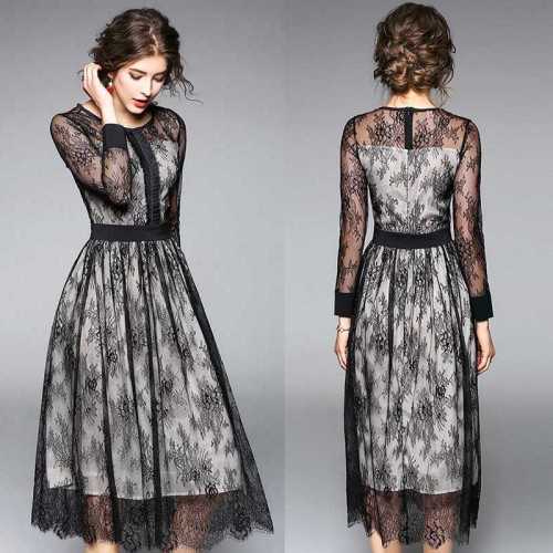 Long Sleeves Quarter Lace Dress