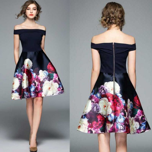 Off Shoulder Umbrella Floral Dress