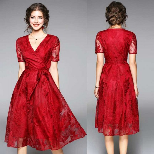 Red V Neck Umbrella Lace Dress