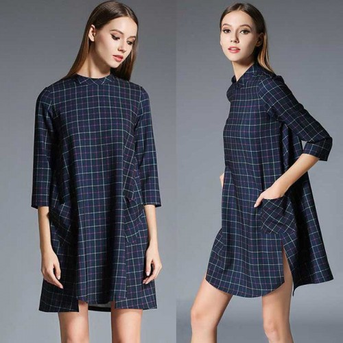 Casual Plaid Dress (Size S, M)