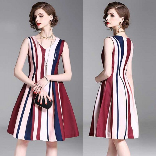 Striped V-neck Spring Dress