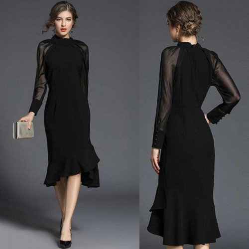 Long Sheer Sleeved FishTail Midi Dress