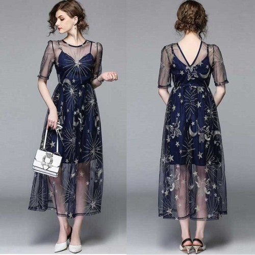 Star Embroidery Umbrella Sheer Dress