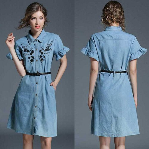 Ruffles Sleeves Denim Dress