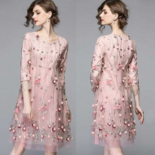 Floral Embroidered Quarter Sleeves Floral A Line Dress