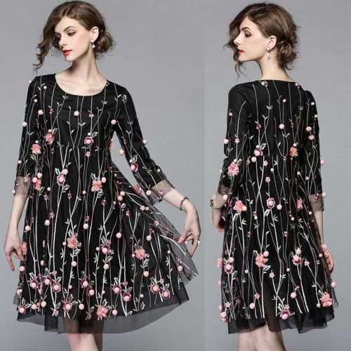 Black Floral Embroidered Quarter Sleeves A Line Dress