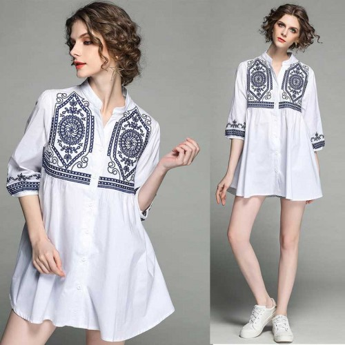 Embroidery Sleeved Dress