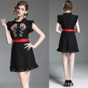 Black Embroidery Lace Dress
