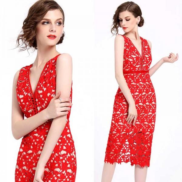 Midi Red Lace Dress