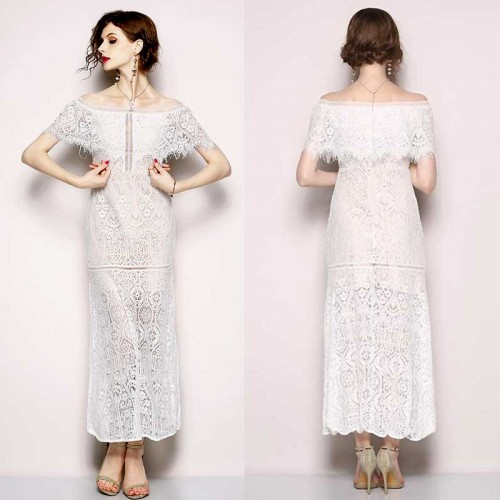 Off Shoulder White Lace Dress