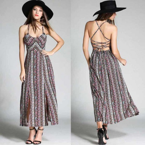 Tie Back Printed Slit Dress