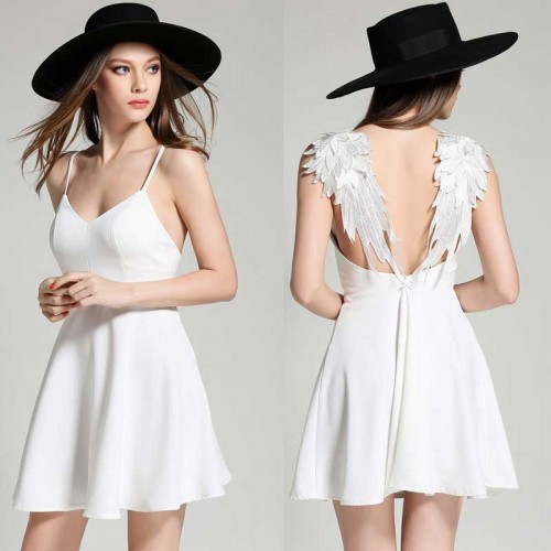 White Angel Wing Short Dress