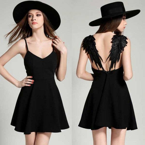 Black Angel Wing Short Dress (Size S,M,L)